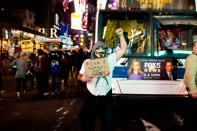 Ferguson solidarity protesters in Times Square 11/26/14